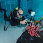 Mario Vitalini fishinfocus diver in pool underwater photograhpy course